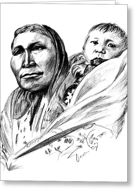 Hiditcha Woman With Child Greeting Card