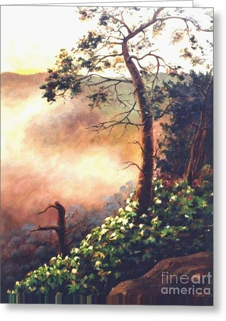 Greeting Card featuring the painting High Above The Valley by Marta Styk