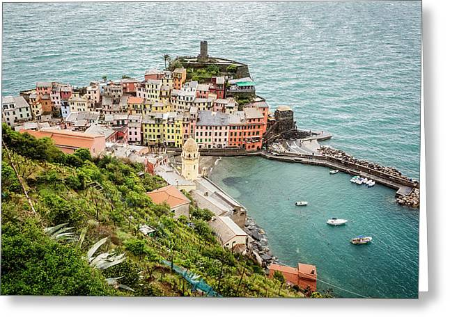High Above Vernazza Cinque Terre Italy Greeting Card