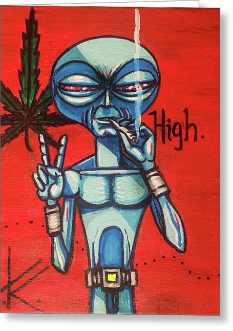 High Alien Greeting Card