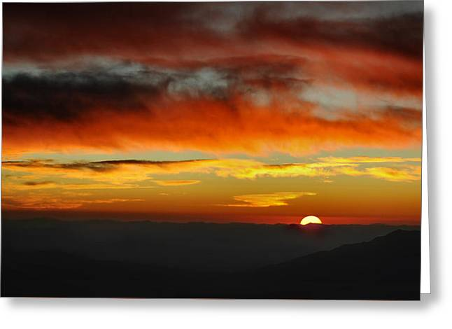 Greeting Card featuring the photograph High Altitude Fiery Sunset by Joe Bonita