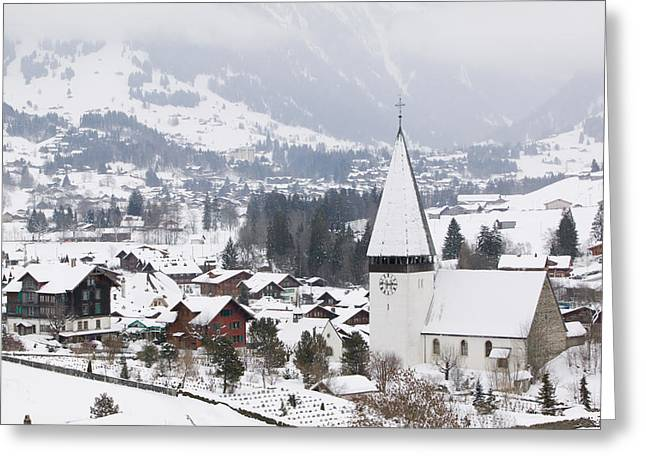 High Angle View Of A Church In A Town Greeting Card