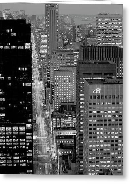 High Angle View Of A City, Fifth Avenue, Midtown Manhattan, New York City, New York State, Usa Greeting Card