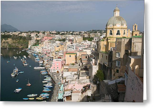 High Angle View Of A City, Procida Greeting Card by Panoramic Images