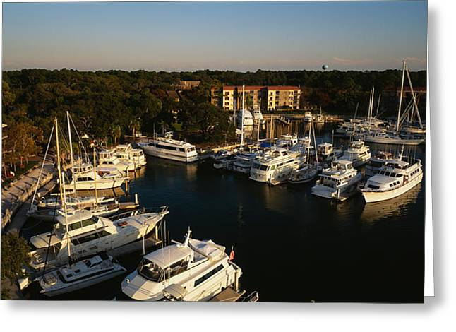 High Angle View Of Yachts Moored Greeting Card by Panoramic Images