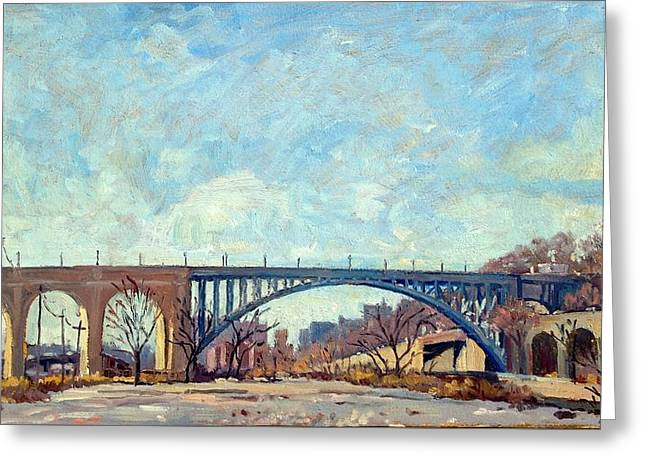 High Bridge Winter Light Nyc Greeting Card by Thor Wickstrom