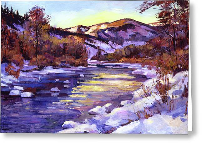 High Country River In Winter Greeting Card by David Lloyd Glover