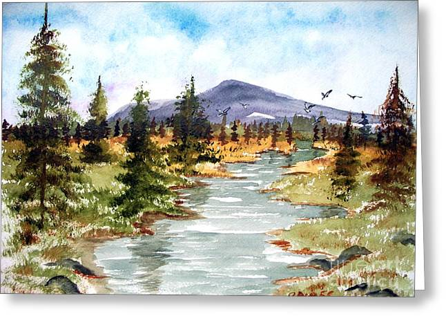High Country Stream Greeting Card by Carol Grimes