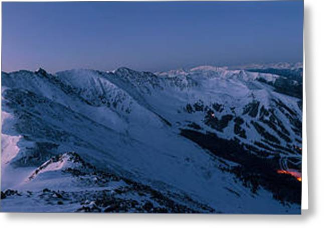 High Country Twilight Panorama Greeting Card by Mike Berenson