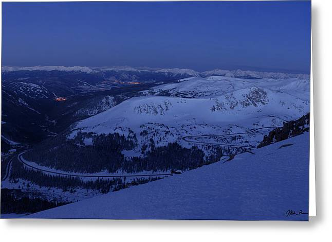High Country Twilight Panorama - Triptych Right Greeting Card by Mike Berenson
