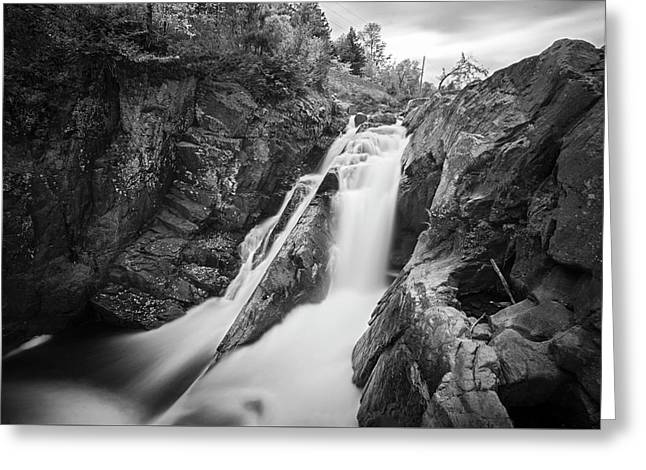 High Falls Gorge Wilmington Ny New York First Waterfall Black And White Greeting Card