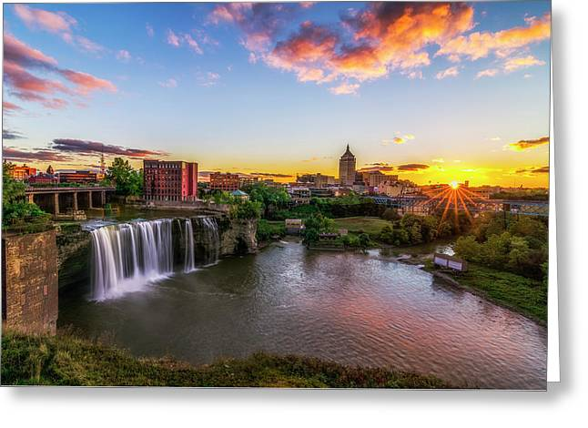High Falls Rochester Ny Greeting Card by Mark Papke