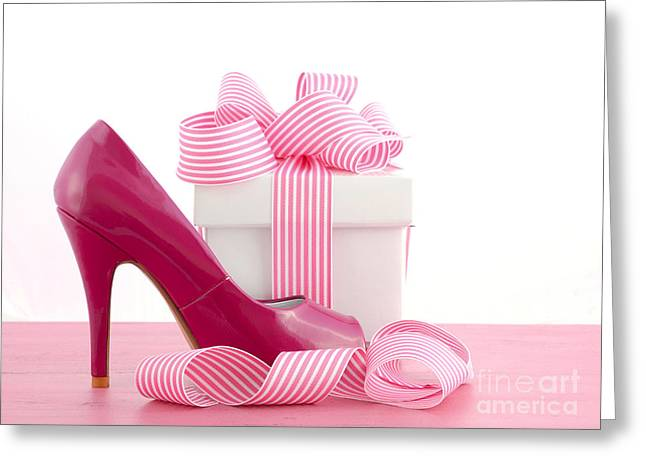 High Heel Shoe And Gift Greeting Card by Milleflore Images