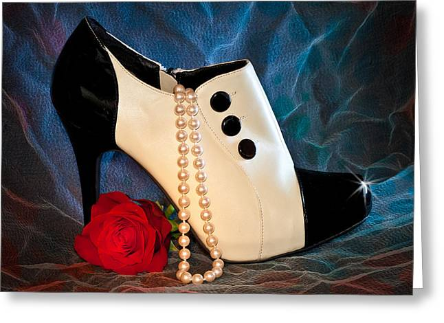 High Heel Spat Bootie Shoe Greeting Card