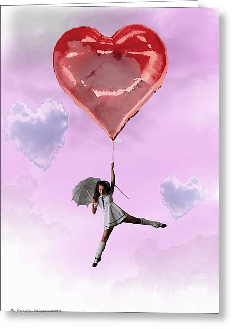 High In Love Greeting Card by Crispin  Delgado