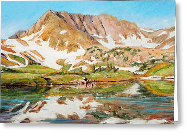 High In The Rockies Greeting Card by Mary Giacomini