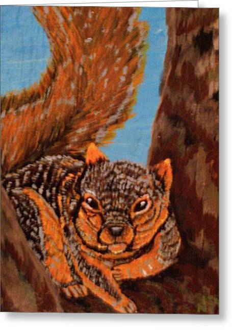 Fox Squirrel Paintings Greeting Cards - High Knob Fox Squirrel Greeting Card by Chris Newell
