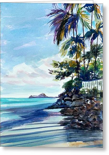 High Moon At Lanikai End Greeting Card by Therese Fowler-Bailey