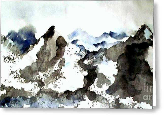 High Mountain Peaks Greeting Card by Carol Grimes