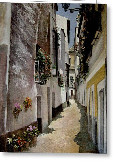 High Noon In The Pueblo Greeting Card by Mai Griffin