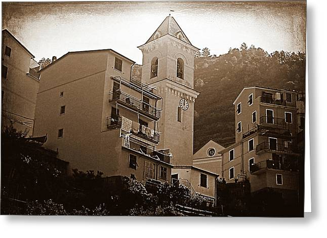 High Noon, Riomaggiore - Sepia Greeting Card