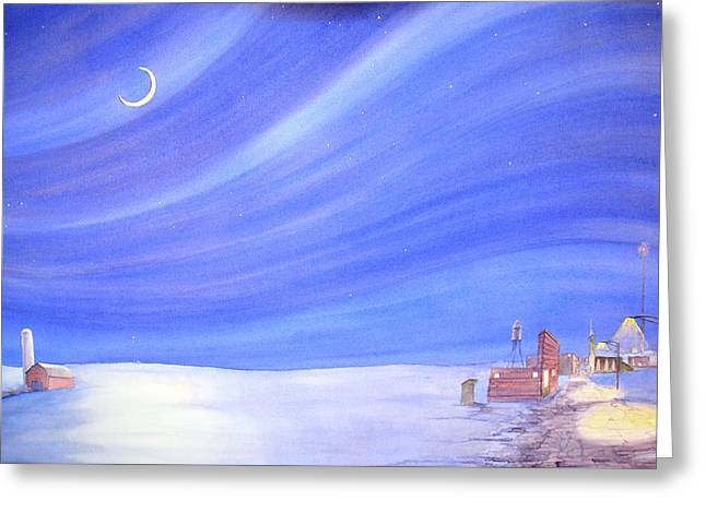 Greeting Card featuring the painting High Plains Nightscape by Scott Kirby