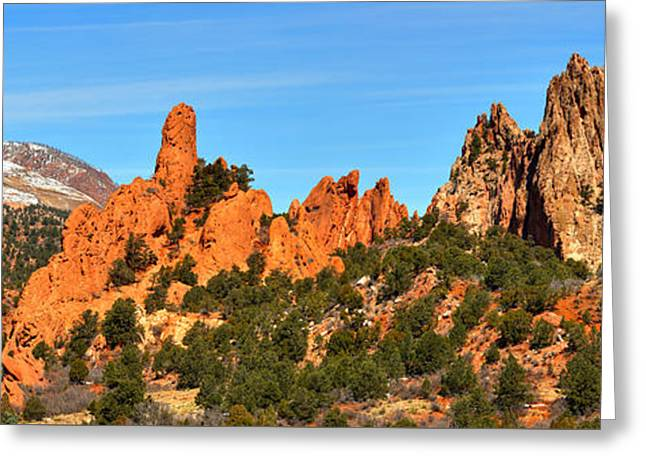 Greeting Card featuring the photograph High Point Panorama At Garden Of The Gods by Adam Jewell