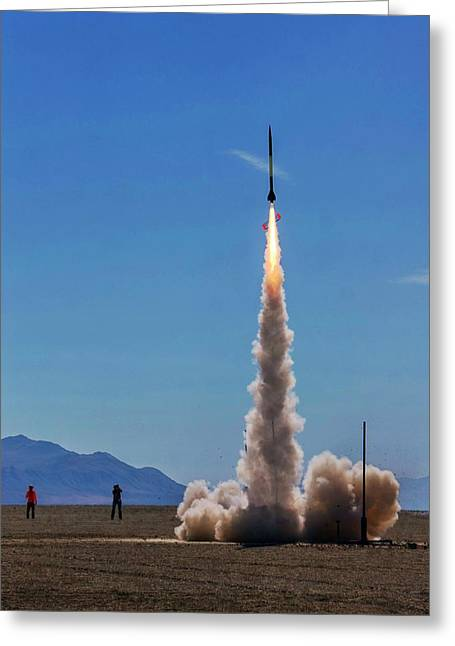 Greeting Card featuring the photograph High Power Rocket Certification Flight by Peter Thoeny