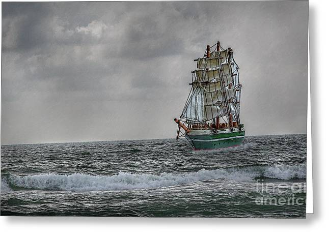 Sailing Ship Greeting Cards - High Seas Sailing Ship Greeting Card by Randy Steele