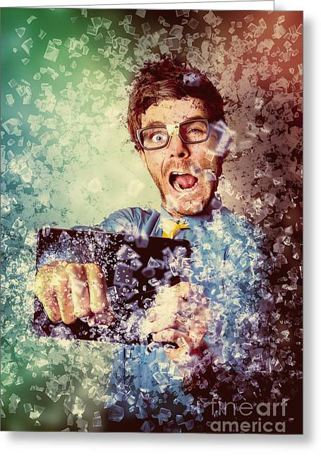 High Speed Technology Geek Punching Tablet Greeting Card by Jorgo Photography - Wall Art Gallery