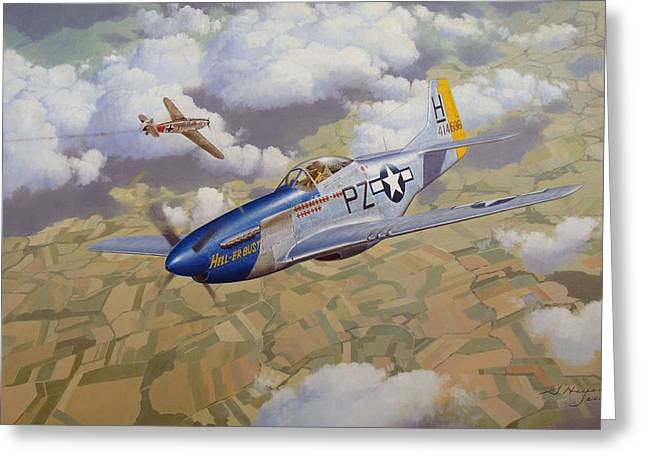 Military Airplanes Paintings Greeting Cards - High-Stakes Gamble Greeting Card by Steven Heyen