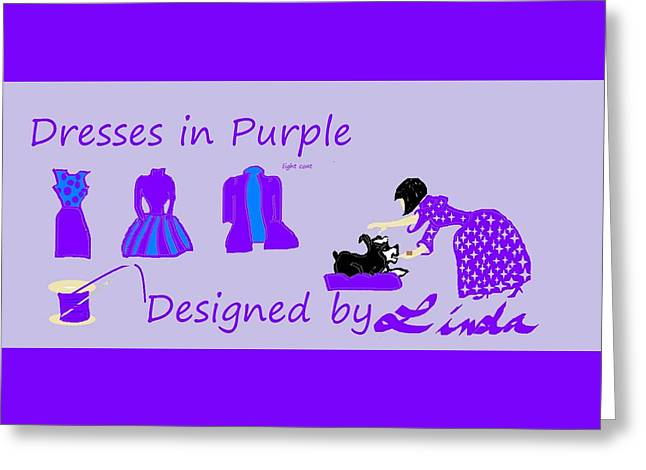 High Style Fashion, Dresses In Purple Greeting Card