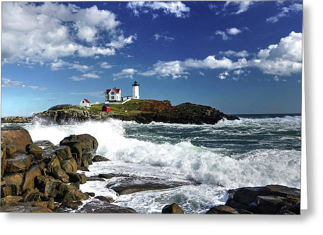 High Surf At Nubble Light Greeting Card