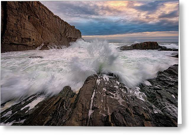 High Tide At Bald Head Cliff Greeting Card by Rick Berk