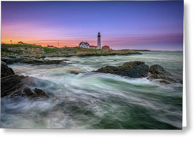 High Tide At Portland Head Lighthouse Greeting Card