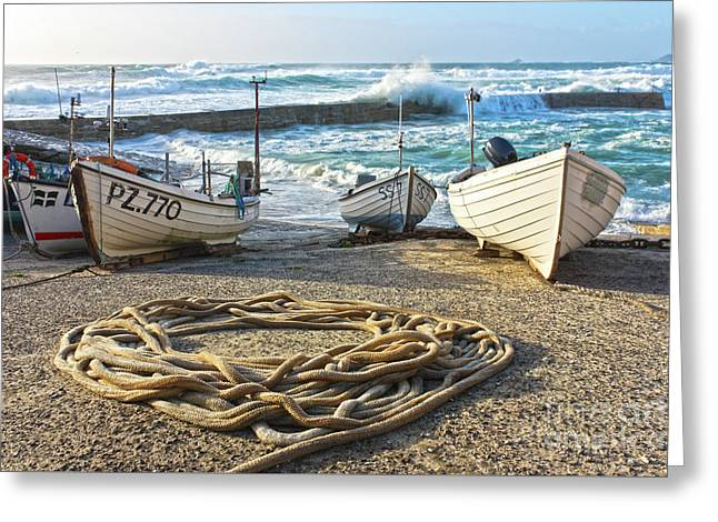 Greeting Card featuring the photograph High Tide In Sennen Cove Cornwall by Terri Waters