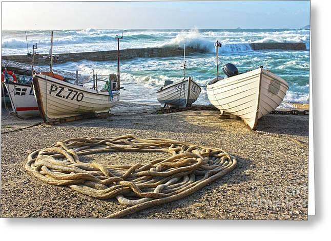 High Tide In Sennen Cove Cornwall Greeting Card by Terri Waters