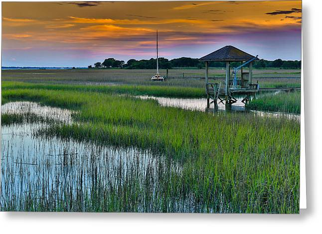 High Tide On The Creek - Mt. Pleasant Sc Greeting Card