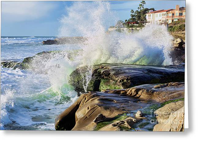 Greeting Card featuring the photograph High Tide On The Rocks by Eddie Yerkish