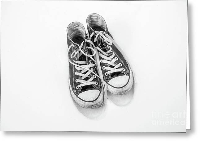 Greeting Card featuring the digital art High Tops In Snow Black And White by Randy Steele