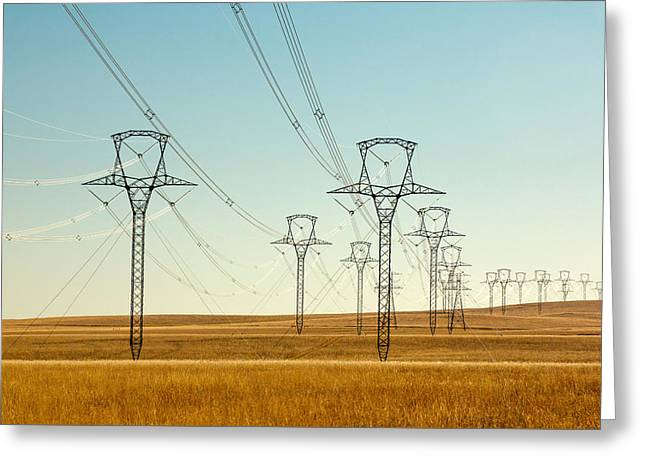 High Voltage Power Lines Greeting Card