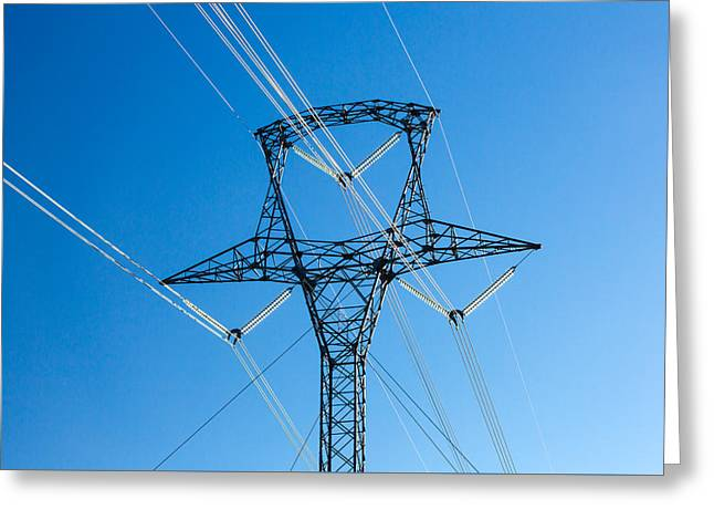 High Voltage Tower Greeting Card by Todd Klassy
