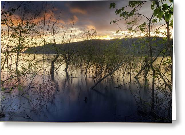 High Water Sunset Greeting Card
