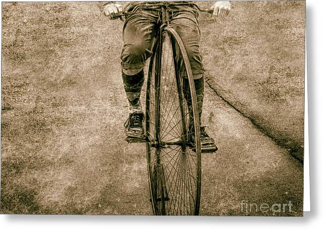 High Wheeling In Vintage Time  Greeting Card by Steven Digman