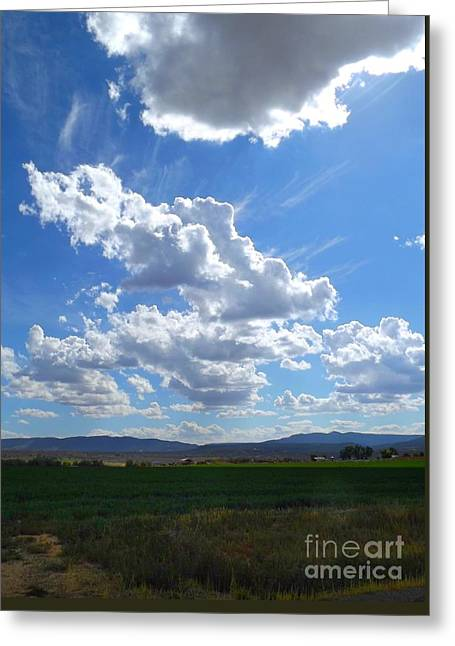 High Winds Chase The Rain Clouds Away Greeting Card by Annie Gibbons