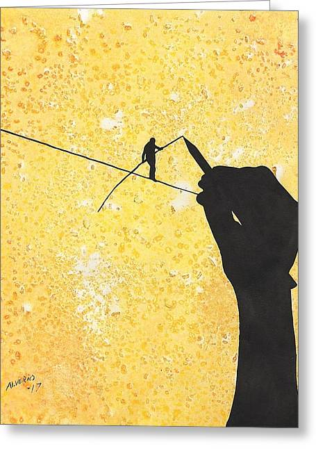 High Wire Artist Greeting Card by Edwin Alverio