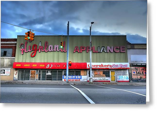 Bankrupt Greeting Cards - Highland Appliance Superstore Greeting Card by Gordon Dean II
