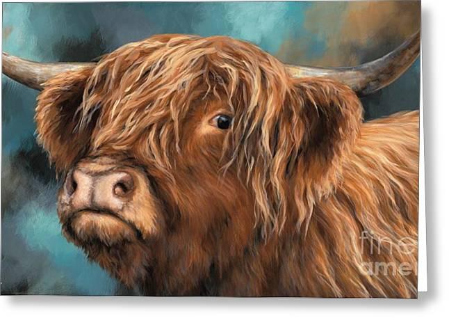 Highland Heifer Greeting Card by Dina Perejogina
