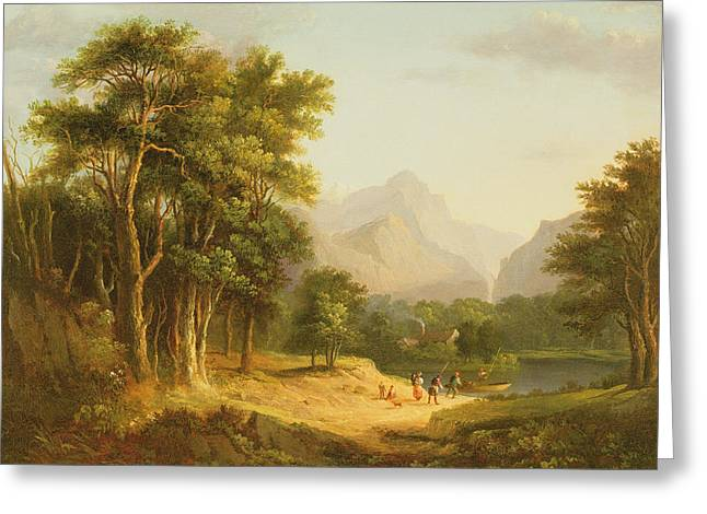 Highland Landscape With Figures Greeting Card by Alexander Nasmyth