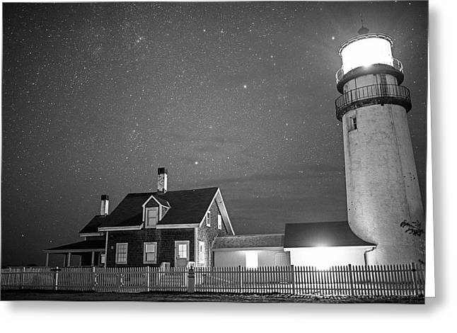 Highland Light Truro Massachusetts Cape Cod Starry Sky Black And White Greeting Card by Toby McGuire